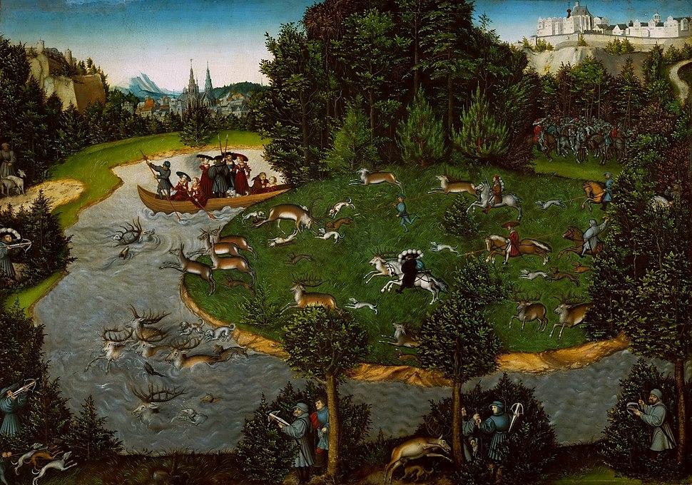 Lucas Cranach d.Ä. - Hirschjagd des Kurfürsten Friedrich des Weisen (KHM Wien)