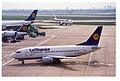 Lufthansa Boeing 737-530; D-ABJF@LHR;13.04.1996 (4992414321).jpg