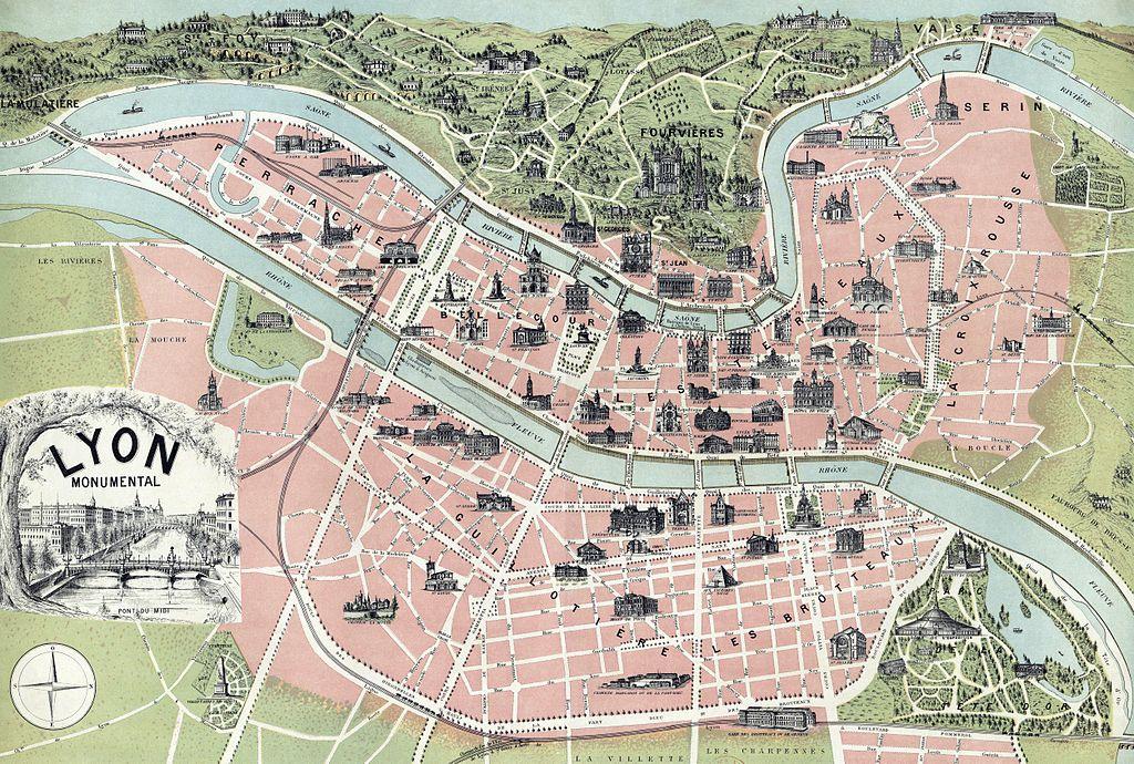 Monuments à Lyon : Carte du Lyon monumental en 1894.