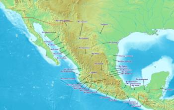 Mapa con los principales ríos de México.