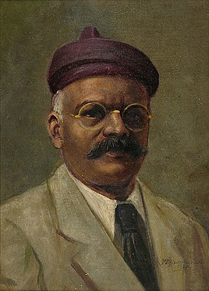 M. V. Dhurandhar - Self Portrait - Oil painting on canvas by M.V. Dhurandhar, dated 1928.
