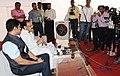 """M. Venkaiah Naidu interacting with the media after inaugurating the """"Saath Hai Vishwaas Hai, Ho Raha Vikas Hai"""" Exhibition of DAVP, at Sarojini Nagar, in New Delhi.jpg"""