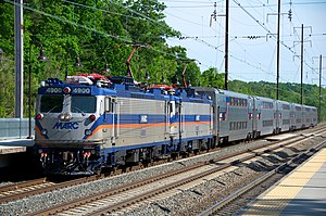 Transportation in Washington, D.C. - Two EMD AEM-7s lead a MARC Penn Line service into BWI in 2012.