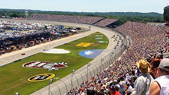 Michigan International Speedway - Racing action after a restart at the 2014 Quicken Loans 400 at Michigan International Speedway.