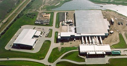 The Edmonton Composting Facility is the largest co-composting facility in North America by volume and capacity. MRF Composter03.jpg