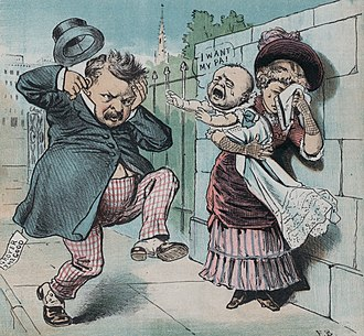 Grover Cleveland - An anti-Cleveland cartoon highlights the Halpin scandal.