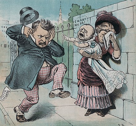 An anti-Cleveland cartoon highlights the Halpin scandal. Ma ma wheres my pa.jpg