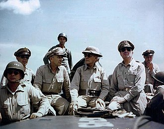 Douglas MacArthur - American military officers off Leyte Island in the Philippines, October 1944: Lieutenant General George Kenney, Lieutenant General Richard K. Sutherland, President Sergio Osmeña, General Douglas MacArthur