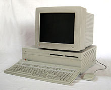 A Macintosh II with a separate monitor and CPU.