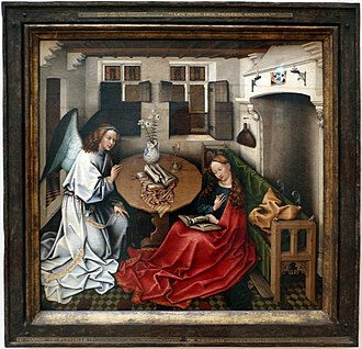 Holy card - Annunciation by Robert Campin; wood print is top right, between candle fixtures.