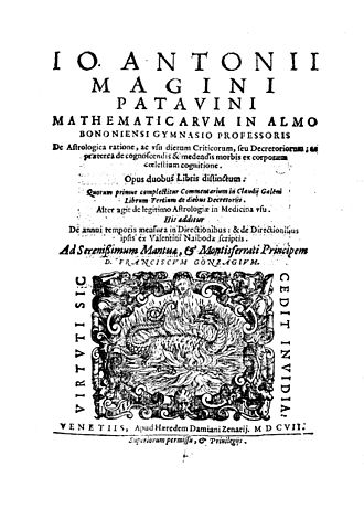 Giovanni Antonio Magini - De astrologica ratione, 1607