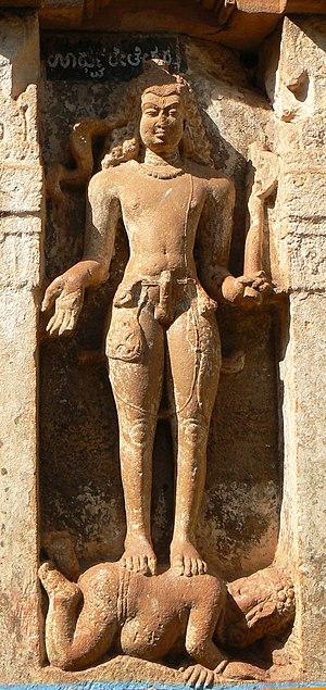 Lakulisha - Lakulisha holding an axe, sandstone, Sangameshvara Temple at Mahakuta, Karnataka, Early Chalukya dynasty, 7th century CE