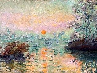 Landscape at sunset.