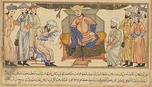 Malik-Shah I - Malik-Shah I seated on his throne, miniature from the Jami' al-tawarikh of Rashid al-Din Hamadani