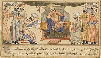 Malik-Shah I - Malik-Shah I seated on his throne, miniature from the Jami' al-tawarikh of Rashid al-Din Hamadani
