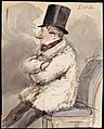 Man i pälsjacka och hög hatt sitter ytterst på en stol L. Wiede . Akvarell av Fritz von Dardel - Nordiska museet - NMA.0037350.jpg