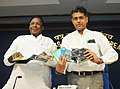 Manish Tewari and the Minister of State for Personnel, Public Grievances & Pensions and Prime Minister's Office, Shri V. Narayanasamy releasing seven Documentary Films on good governance initiatives, in New Delhi.jpg