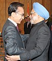 Manmohan Singh at a bilateral meeting with the President of the Republic of South Korea, Mr. Lee Myung-bak, on the sidelines of the 17th ASEAN Summit and Related Summits to be held in Hanoi, Vietnam on October 29, 2010.jpg