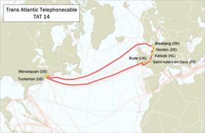 TAT-14 - Image: Map TAT 14
