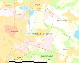 Mapa obce Villeneuve-Saint-Germain