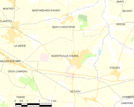 Mapa obce Aigrefeuille-d'Aunis