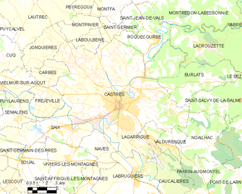 Map of the commune of Castres