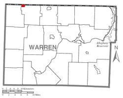 Location of Bear Lake in Warren County