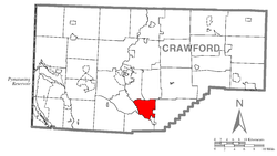 Location of East Fairfield Township in Crawford County