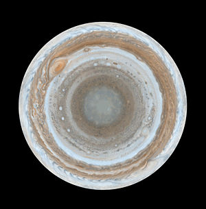 Polar map of Jupiter
