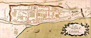 The Citadel, Montreal - The Citadel is in this map of Montreal, 1749. Inside the walls, the long rectangle in relief, at north-east corner