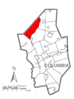 Map of Columbia County, Pennsylvania highlighting Pine Township