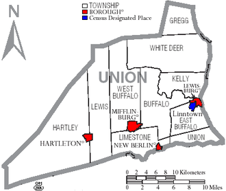 Union County, Pennsylvania - Map of Union County, Pennsylvania with municipal labels showing boroughs (red), townships (white), and census-designated places (blue)