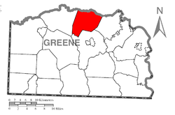 Location of Washington Township in Greene County