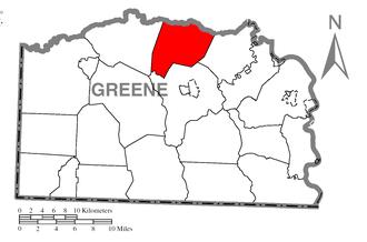 Washington Township, Greene County, Pennsylvania - Image: Map of Washington Township, Greene County, Pennsylvania Highlighted