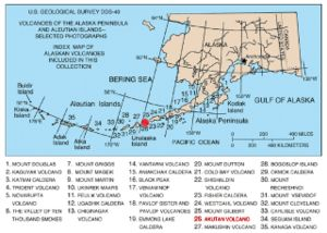 Mount Akutan - Map showing volcanoes of Alaska. The mark is set at the location of Mount Akutan.