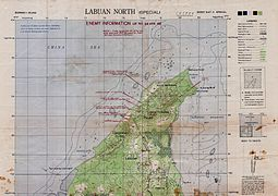 Map of northern Labuan marked with estimated Japanese positions and Allied invasion beaches as of April 1945.jpg