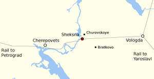 Sheksna uprising - Image: Map of the cities and section of railway involved in the Sheksna Uprising of 1918