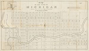 "Lansing, Michigan - An 1847 plat map of ""the town of Michigan,"" prior to the selection of ""Lansing"" as the capital's name the following year. (The map is oriented with north to the right.)"