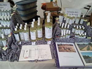 Essential oil - Lavender essential oil sold at a market in France.