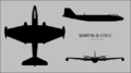 Martin B-57B Canberra three-view silhouette.png