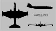 Martin B-57B Canberra three-view silhouette