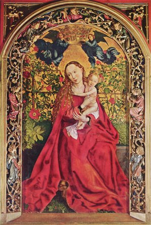 Martin Schongauer - Madonna in the Rose Garden