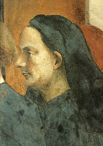 Masaccio, cappella brancacci, san pietro in cattedra. ritratto di filippo brunelleschi