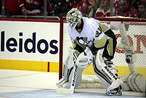 Matt Murray (ice hockey) - Murray in net for the Penguins for the first game of their second round series against the Capitals in 2016.