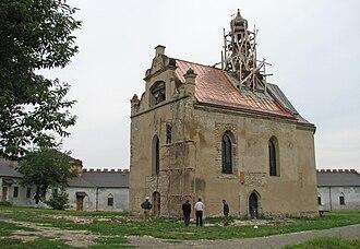 Medzhybizh - The Orthodox church under renovation inside Medzhybizh castle. Originally built in 1586.