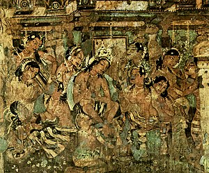 Indian painting - A mural painting depicting a scene from Mahajanaka Jataka, Cave 1, Ajanta