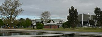 Melbourne Sports and Aquatic Centre - View of MSAC from Albert Park Lake