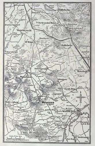 50th (Northumbrian) Division - First areas to be held by the division. (Mt Sorrel just S.E. of Zillebeke.)