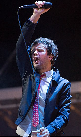 Michael Angelakos - Angelakos performing with Passion Pit at Lipton's Be More Tea Festival at Riverfront Park in North Charleston, South Carolina in 2015