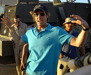 Movie director Michael Bay instructs Airmen fi...